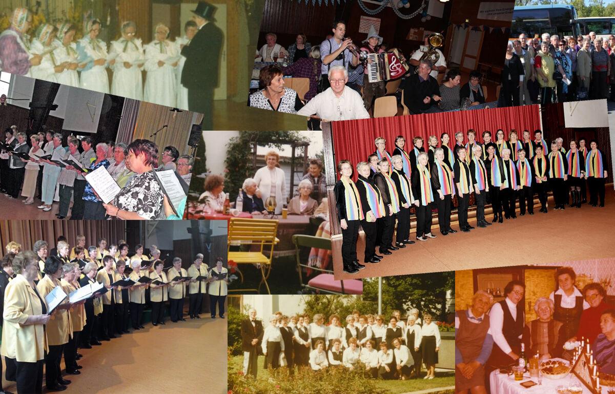 Fotos vom Frauenchhor Göttingerode aus verschiedenen Zeiten in einer Collage zusammengefasst.